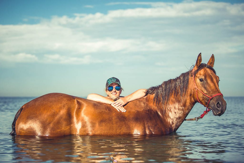 equine photography of Rolly at the beach